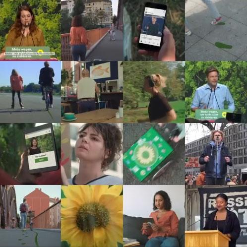Collage aus vielen kleinen Bildauschnitten, die Grüne im Wahlkampf zeigen