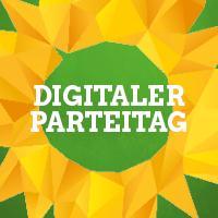 Digitaler Parteitag – geometrisch verfremdete Variante des Sonnenblumen-Logos auf grünem Hintergrund