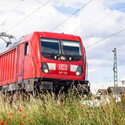 Ansicht einer roten Lok der deutschen Bahn