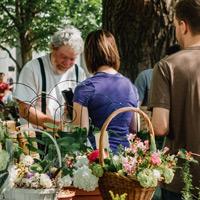 Szene aus einem lebendigen, grünen Ortskern mit Marktständen. Das Bild stammt aus Vor-Corona-Zeiten, ein Händler und seine Kund*innen stehen dicht zusammen