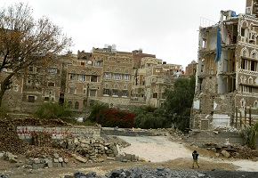 Destroyed buildings in Sana'a