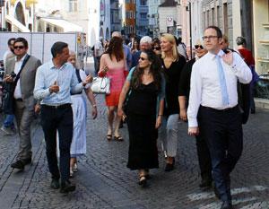 Die Erlanger Delegation in Bozen (Bianca Fuchs in der Mitte) - Foto: Städtepartnerschaften und Internationale Beziehungen der Stadt Erlangen