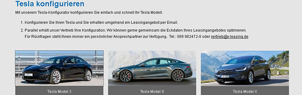 Tesla Leasing-Kalkulator