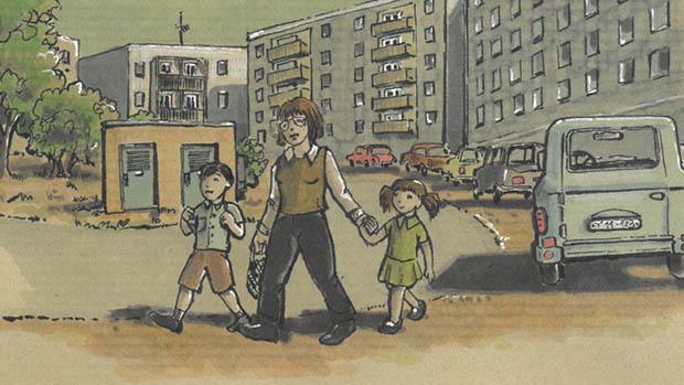 Bild: Zeichnung einer Mutter mit zwei Kindern in der DDR