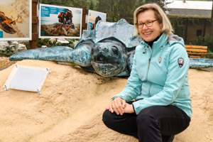 Programme Director Dr. Hiltrud Cordes at Ostrava Zoo with the new leatherback turtle exhibit