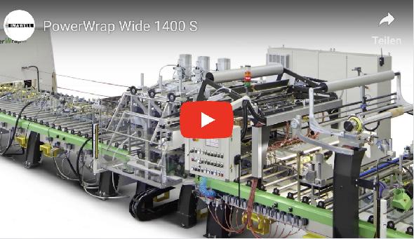 Flächenkaschieranlage PowerWrap Wood 1400S mit Klebstoff-Schlitzdüsen
