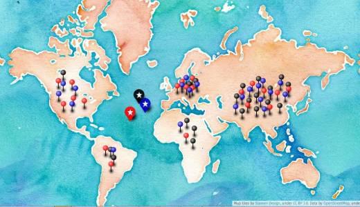 Das Weltverteilungsspiel online auf openstreetmaps