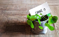 Topf mit Pflanze und Schild mit Aufschrift Danke