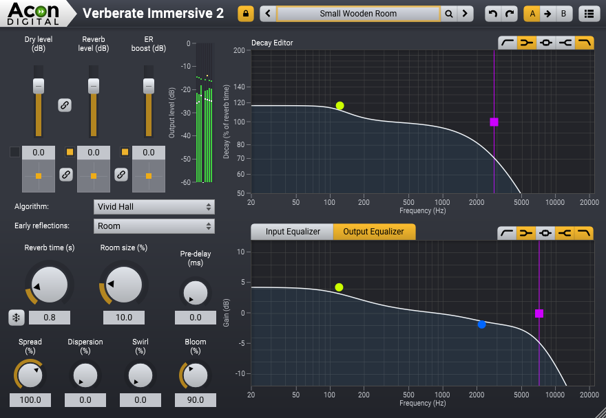 The functional layout of the Verberate Immersive 2 user interface.