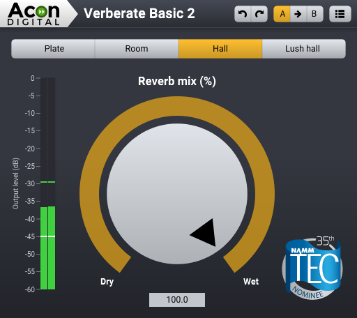 Screenshot of the free and brand new Verberate Basic 2 plug-in