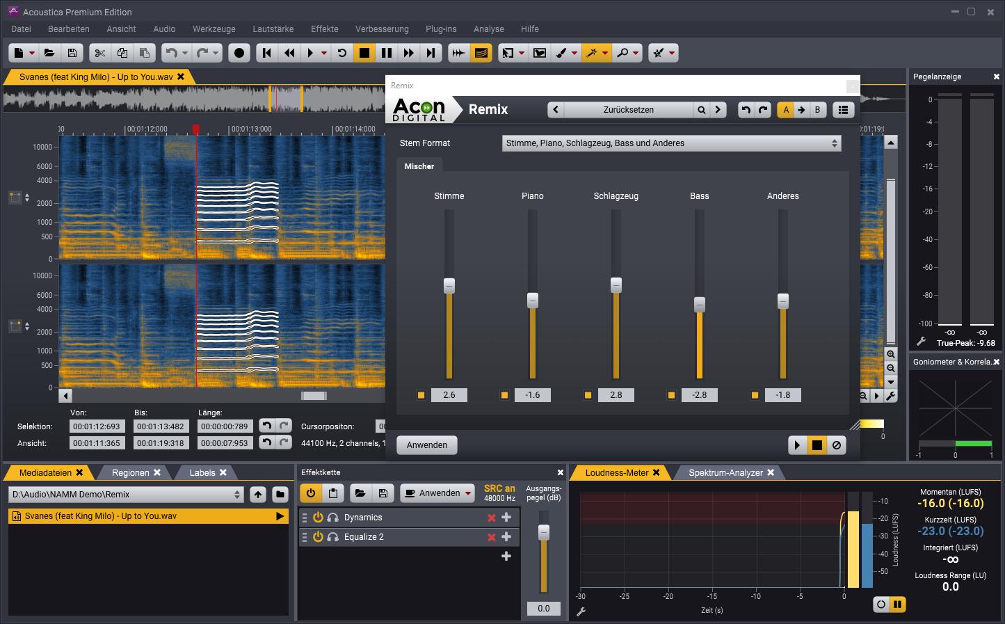 Das neue Remix Werkzeug in Acoustica 7.2