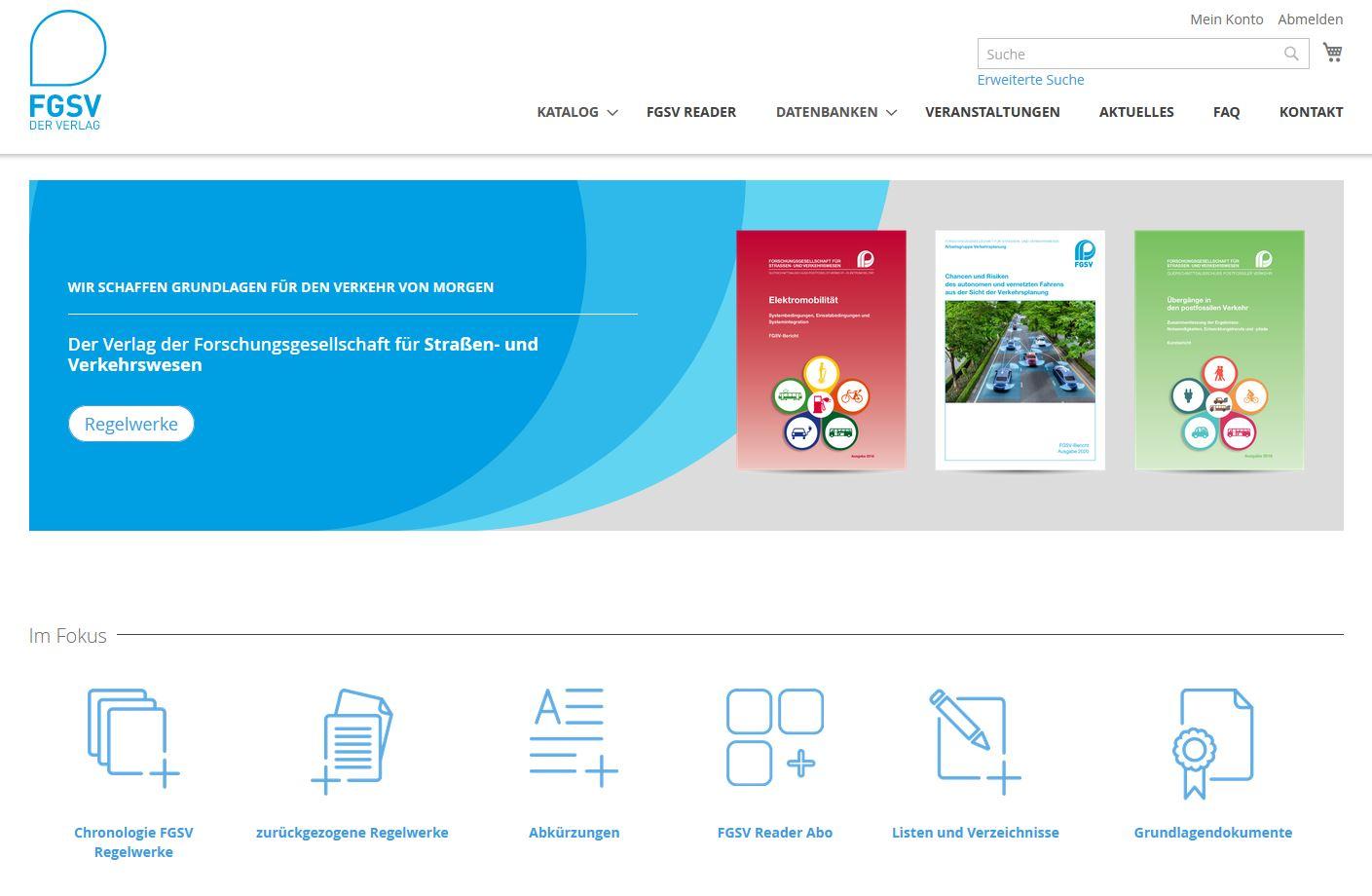 Startseite Homepage FGSV Verlag