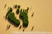 Grüne Bäume wie ein Fußabdruck arrangiert vor gelben Hintergrund