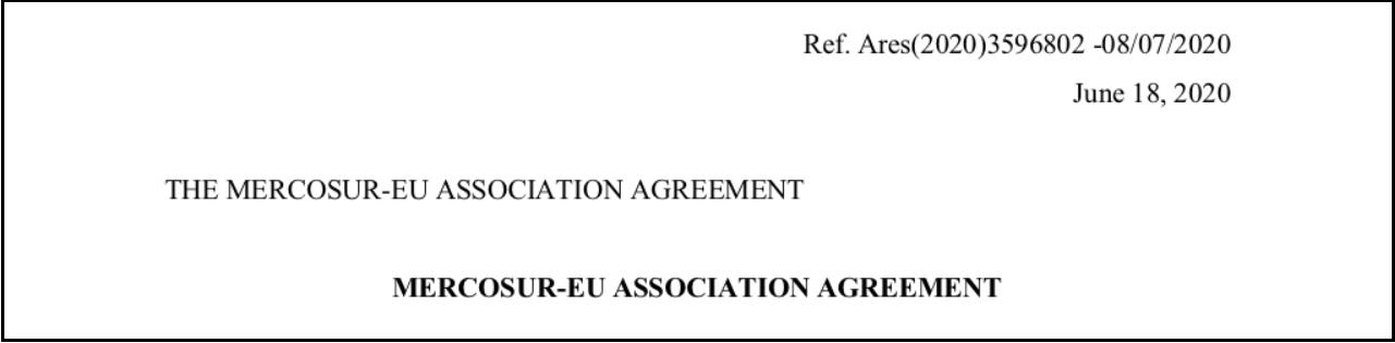 Text EU-Mercosur Assoziierungsabkommen