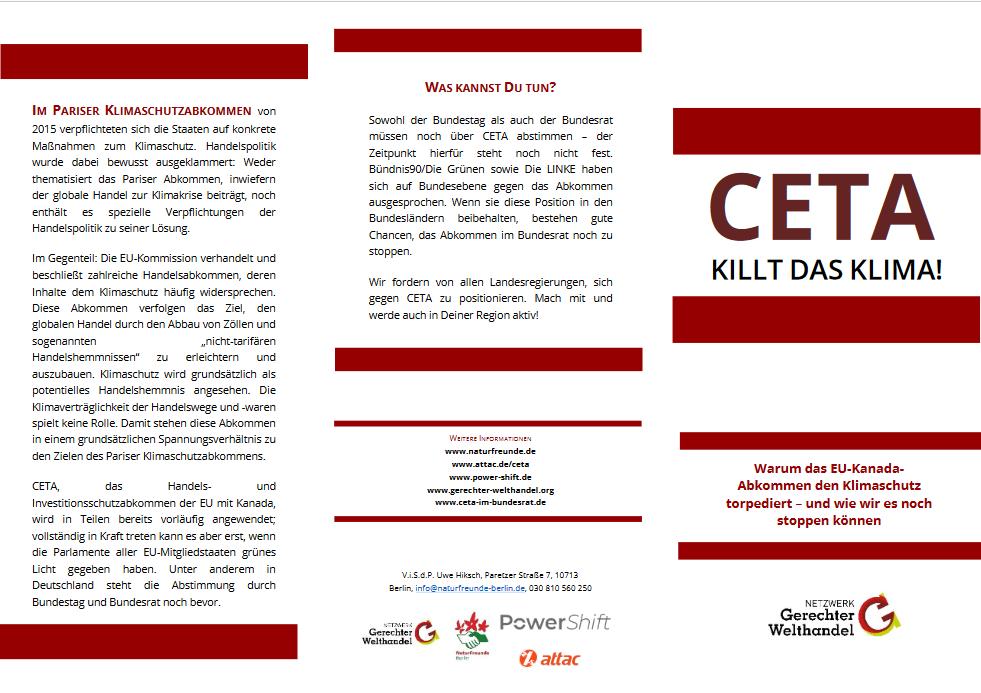 """Flyer """"CETA killt das Klima"""""""