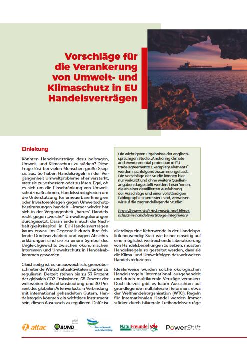 """Factsheet """"Umwelt- und Klimaschutz in EU Handelsverträgen"""" Cover"""