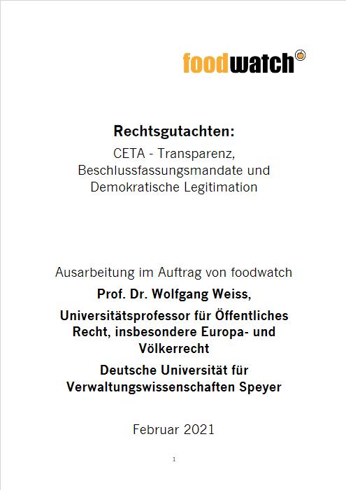 """Publikation """"Rechtsgutachten: CETA - Transparenz, Beschlussfassungsmandate und Demokratische Legitimation"""" Cover"""