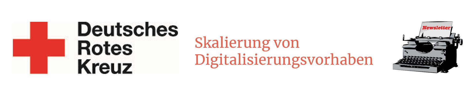 """Links das Logo des DRK, in der Mitte steht """"Skalierung von Digitalisierungsvorhaben"""" und rechts ist eine Schreibmaschine abgebildet."""