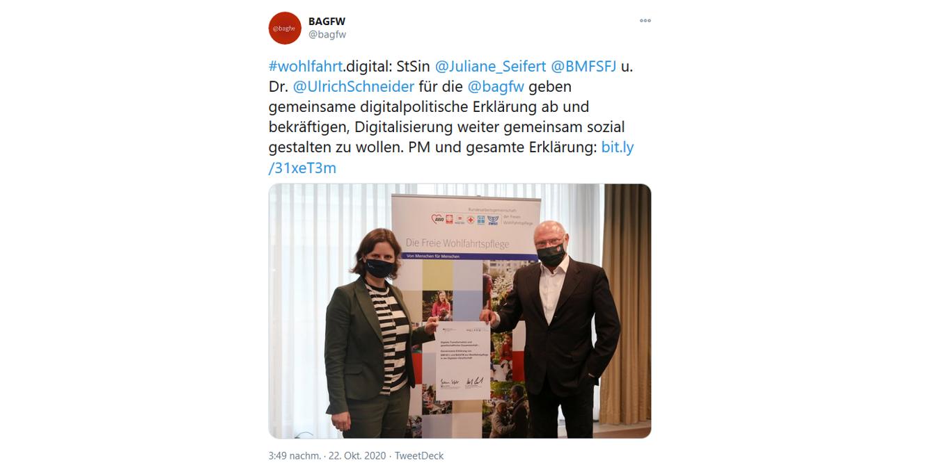 Screenshot des Tweets der BAGFW über die Unterschrift des Kooperationspapiers.