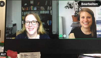 Anna Kose und Prof. Maaß auf einem Bildschirm in einer Videokonferenz beim Interview.