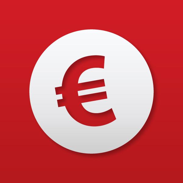Euro-Symbol auf rotem Grund