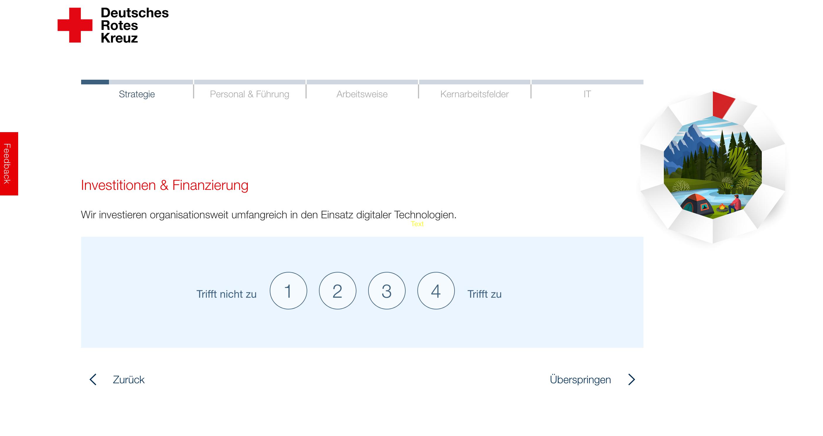Ein Screenshot vom Digitalcheck. Die Abfrage fragt, welche Investitionen man in die Digitalisierung tätigt.