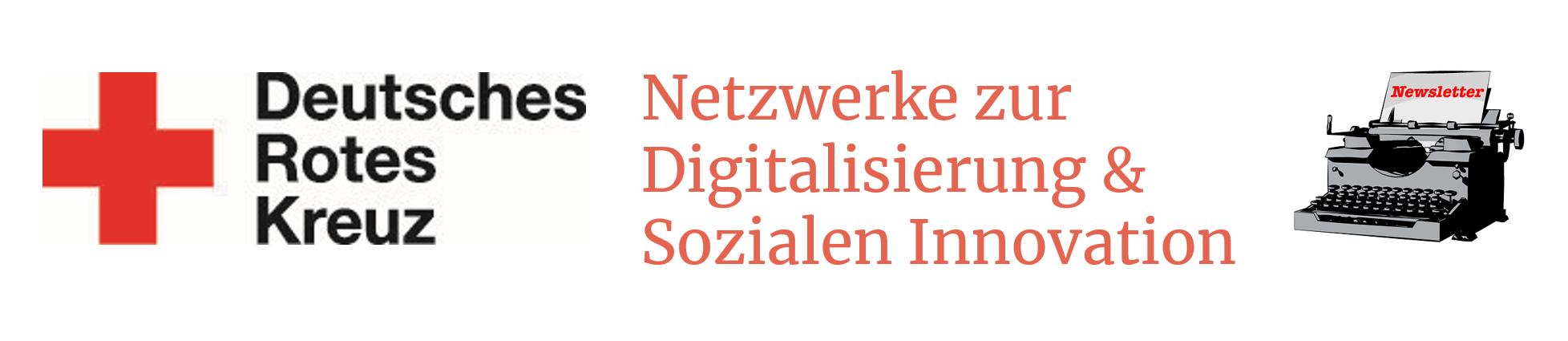 """Links das Logo des DRK, in der Mitte steht """"Netzwerke zur Digitalisierung und Sozialen Innovation"""" und recht ist eine Schreibmaschine abgebildet."""