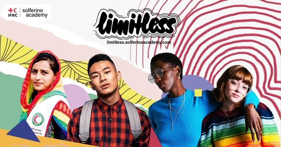 """Vier Personen auf einem Plakat des Projekts """"limitless"""""""