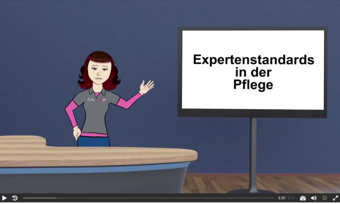 """Eine weibliche Karikatur steht vor einem Tresen und rechts von Ihr ist ein Bildschirm auf steht """"Expertenstandards in der Pflege"""""""