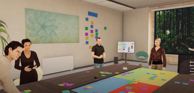 Avatare stehen im virtuellen Raum um einen Tisch