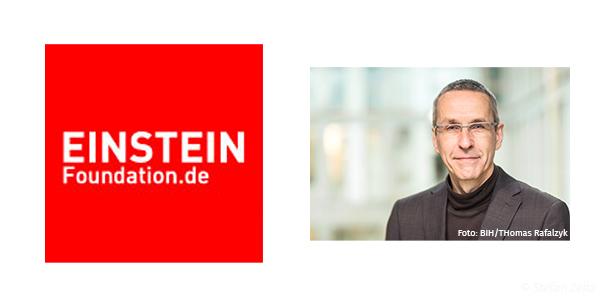 Logo Einstein Foundation und Porträt Ulrich Dirnagl