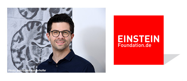 Porträt Philipp Mergenthaler + Logo Einstein Foundation