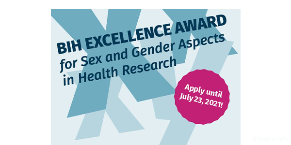 Headerbild BIH Excellence Award for Sex and Gender Aspects in Health Research 2021