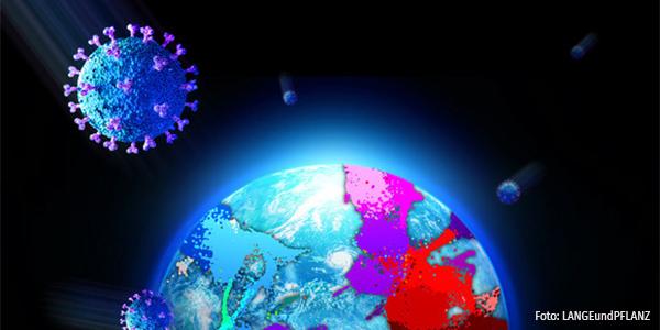 Corona Viren, die im Weltall Richtung Erde fliegen