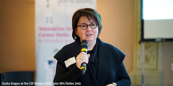 Duska Dragun holding a speech at the CSP Retreat 2020