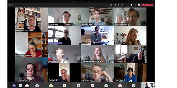 Teilnehmerinnen Edit-a-thon in Videokonferenz