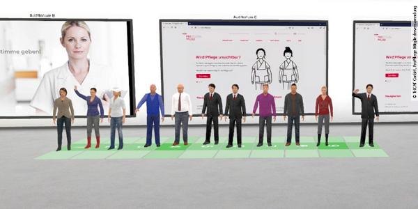 Der neue Vorstand und die Beiratsmitglieder in der virtuellen 3D-Welt, in der die Mitgliederversammlung stattfand. Quelle: ProPflege/TriCAT
