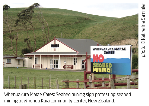 Whenuakura Marae Cares: Seabed mining sign protesting seabed mining at Whenua Kura community center, New Zealand.