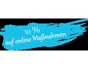 Blauer Hintergrund worauf steht 10 % auf online Maßnahmen