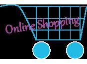 Einkaufswagen mit Aufschrift online Shopping