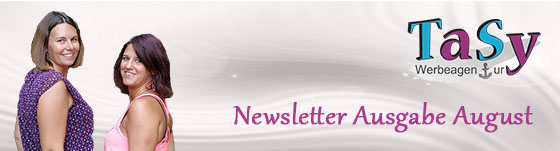 Sylvia Musel und Tanja Helm lachen entgegen - Text daneben Newsletter Ausgabe Juli 2020