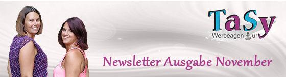 Sylvia Musel und Tanja Helm lachen entgegen - Text daneben Newsletter Ausgabe November