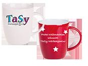 Weißer und roter konischer Kaffeebecher mit Logo von TaSy Werbeagentur bzw. Frohe Weihnachten darauf