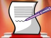 Papier, das mit einem Stift beschrieben wird