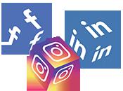 Wuerfel worauf sich Social Media Icons befinden