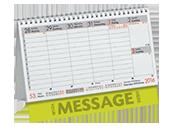 Stehkalender dummy, wo groß das Wort Message zu lesen ist (für Werbung)