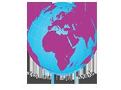 Weltkugel in lila und blau, darunter steht world wide web