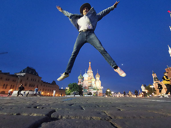 Freudensprung auf dem Roten Platz