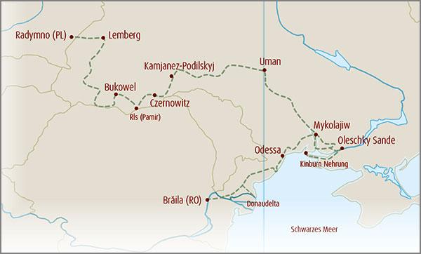 Karte Ukrainetour