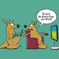 Comic mit zwei Känguruhs